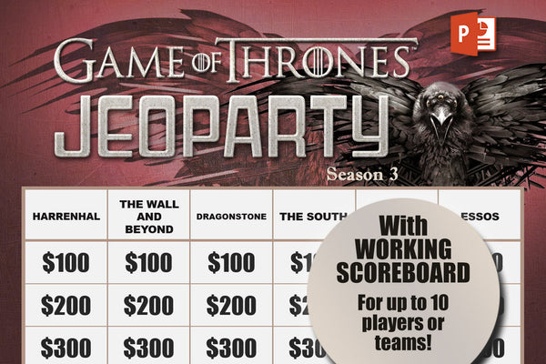 Game of Thrones Season 3 Jeopardy Trivia Game w/ Working Scoreboard