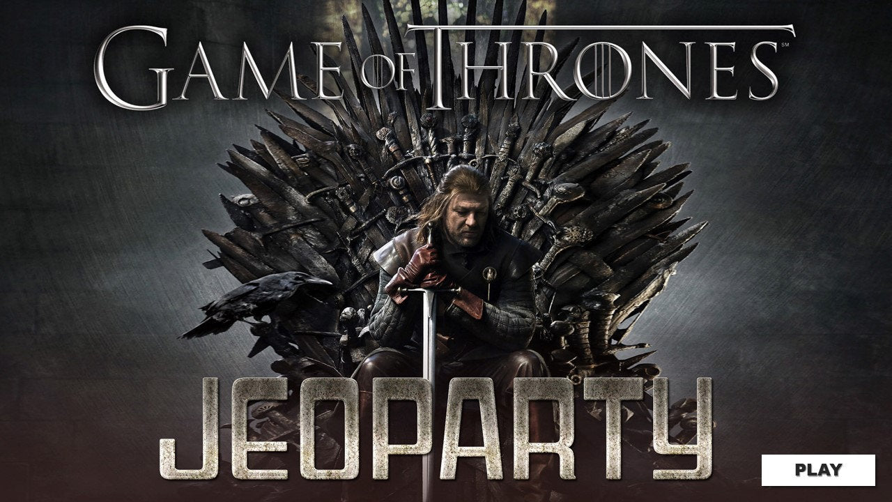 Game of Thrones Season 1 Jeopardy Trivia Game w/ Working Scoreboard