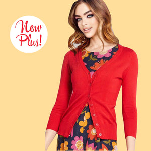 Kinny & Howie Plus Size Long Sleeve V-Neck Cardigan in Red