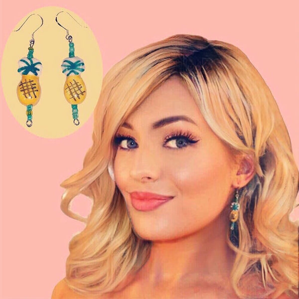 BOGO!  K&H Hand Painted Tiki Pineapple Dangle Earrings