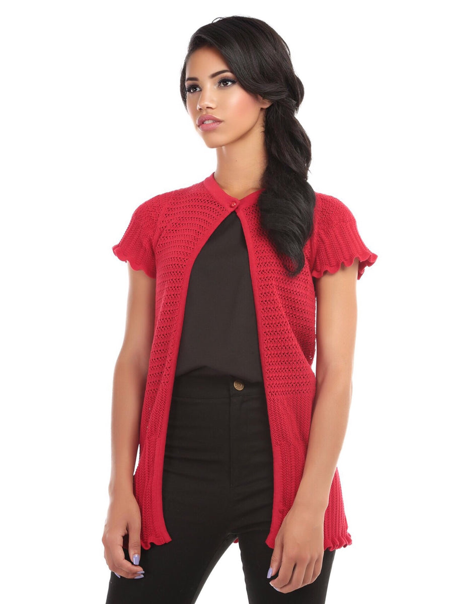 Bright & Beautiful Crochet Scalloped Edge Long Length Open Front Short Sleeve Cardigan in Red
