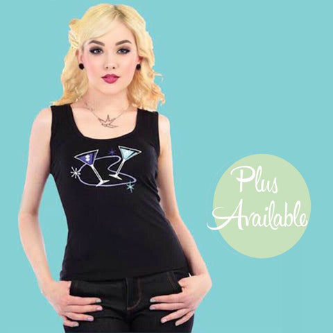 Collectif Mid-Century Modern Atomic Cocktail Rockabilly Pin up Tank Top Sizes XS-3X