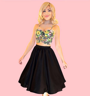 Kinny & Howie Black Cotton Sateen Swing Skirt