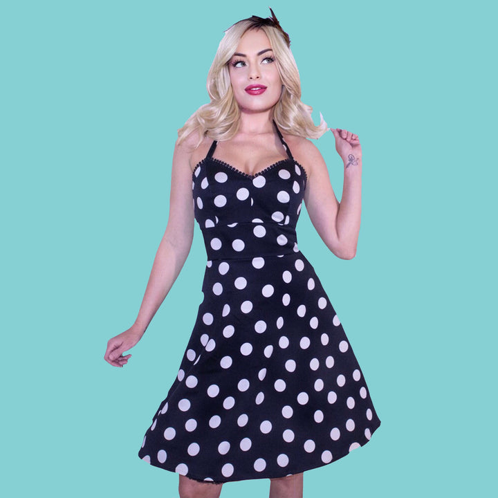 Kinny & Howie Black Polka Dot Ball Fringe Accent Bodice Fit and Flare Halter Dress