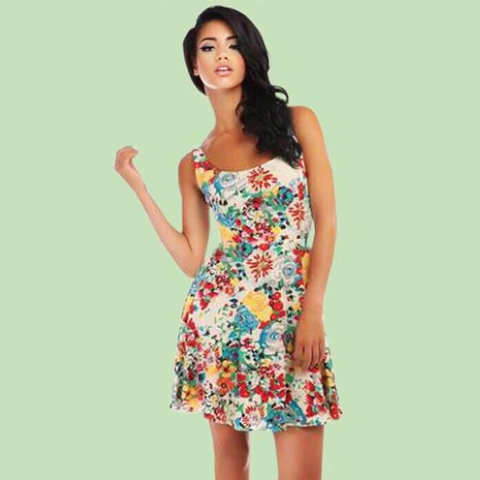 Bright and Beautiful 60's Mid-Century Modern Lizzy Floral Sun Dress