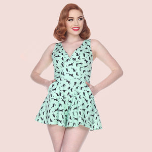 Bettie Page Kitty Cat Print Flared Romper
