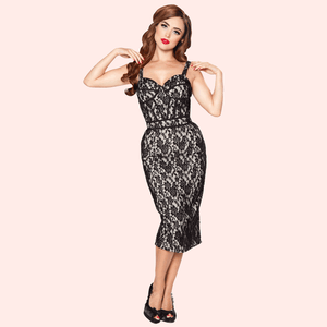 Bettie Page Corset Style Wiggle Dress Champagne with Black Lace Overlay