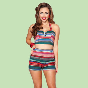 Bettie Page Mexican Serape Stripe Print High Waist Mini Shorts