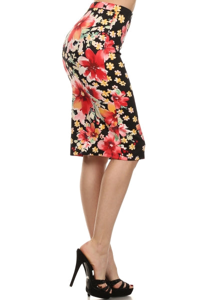 Kinny & Howie Tiki Tropical Viva Las Vegas Floral Print Plus Sizes Pencil Skirt