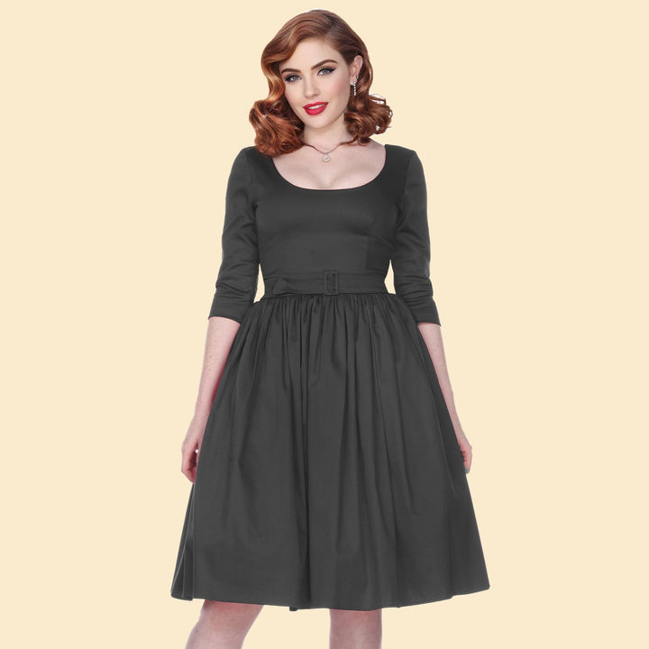 Bettie Page Black 3/4 Sleeve Fit & Flare Scoop Neck Dress