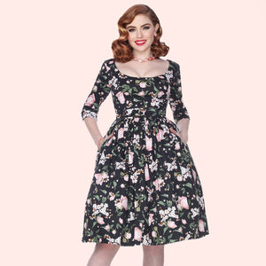 Bettie Page Black 3/4 Sleeve Fit & Flare Scoop Neck Floral  Dress
