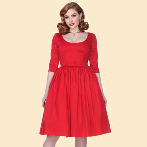 Liz 3/4 Sleeve Swing Dress in Red