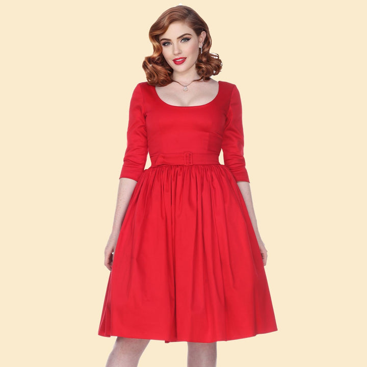 Bettie Page Red 3/4 Sleeve Fit & Flare Scoop Neck Dress