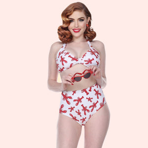 Esther Williams Lobster High Waist Bikini Set