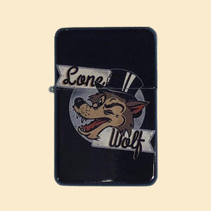 Lone Wolf Windproof Lighter with Tin