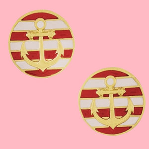 BOGO! K&H Ship Shape Stripe Earrings in Red