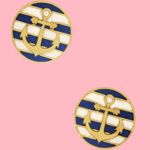 BOGO! K&H Ship Shape Stripe Earrings in Royal Blue