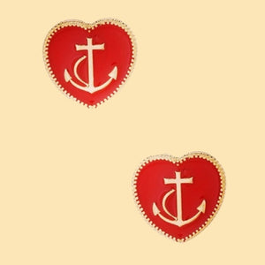 Sea La Vie Earrings in Red and Navy Blue
