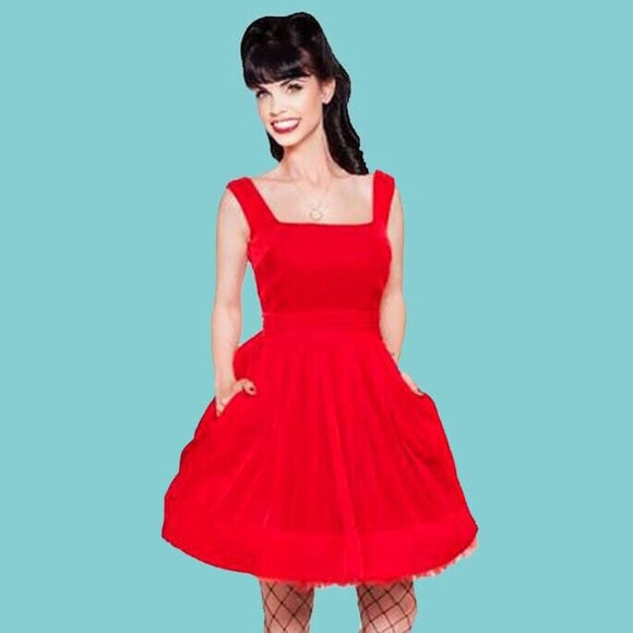 Kinny & Howie Ruby Silk Velvet Empire Swing Dress
