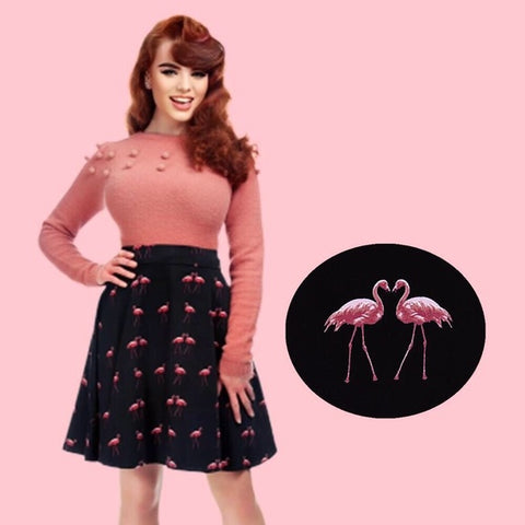 Collectif Tammy Winter Flamingo Flare Skirt