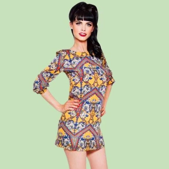 Kinny & Howie Damask 1960's 3/4 Sleeve Mod Mini Shirt Dress