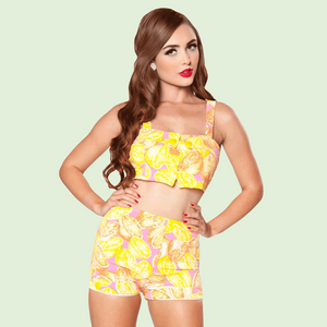 Girl Howdy Vintage Style Pink and Yellow Citrus Print Crop Tank and Shorts Bikini Set
