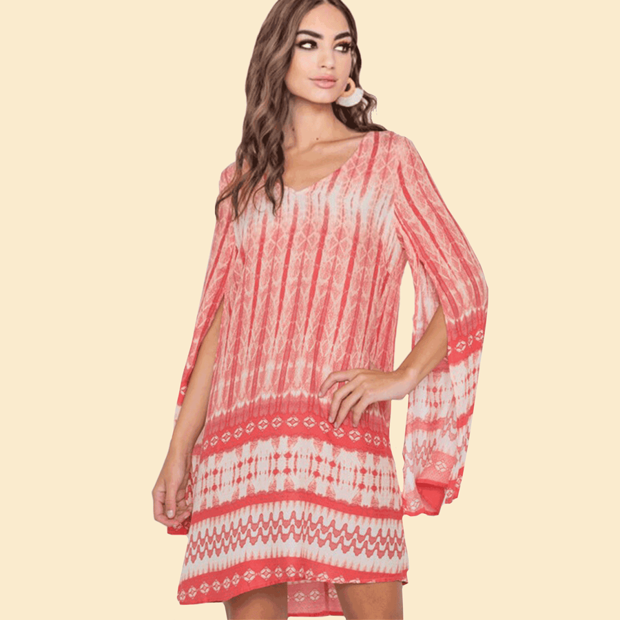 Coral Sands Split Sleeve Tunic Dress