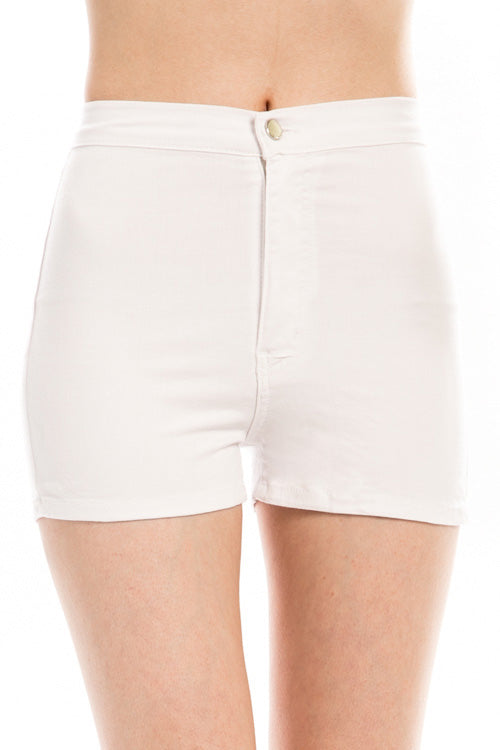 Kinny & Howie White High Waist Juniors Stretch Mini Shorts