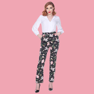 Bettie Page Monica Blossom Floral Trousers