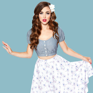 Bettie Page Denim Cap Sleeve Button Front Crop Top