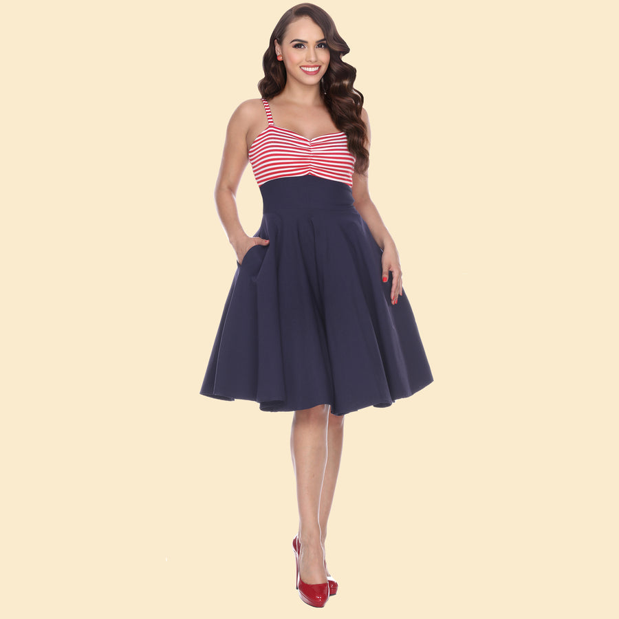 Ship Shape Nautical Swing Dress in Red