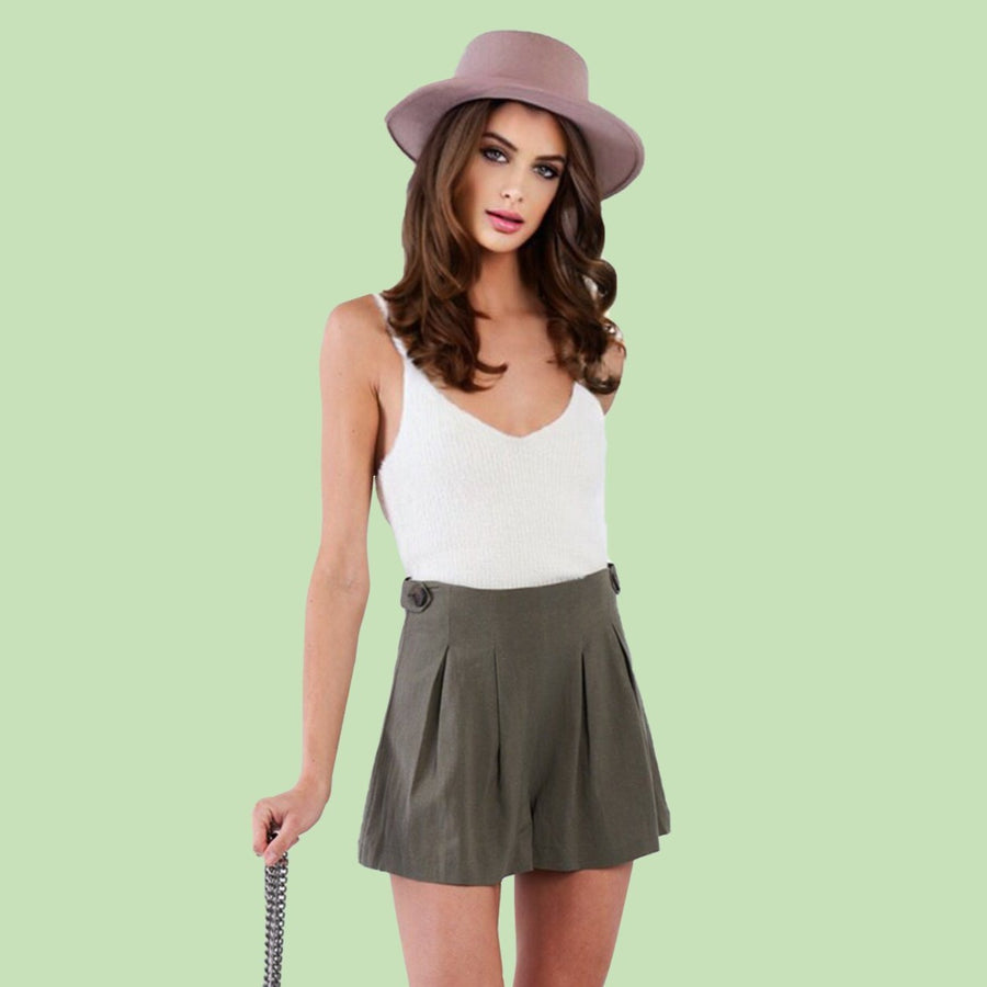 Kinny & Howie Olive Green Pleated High Waist Flared Skort Shorts
