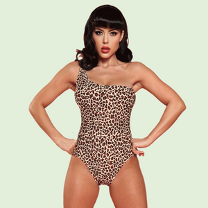 Bettie Page Vintage Style Leopard Print One Piece Swimsuit with One Shoulder Strap