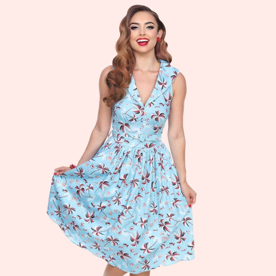 Bettie Page Blue Tiki Palm Print Butterfly Collar Swing Dress