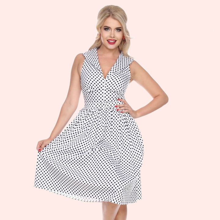Bettie Page White Polka Dot Butterfly Collar Swing Dress