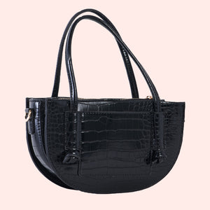Penelope Petite Crocodile Handbag in Black