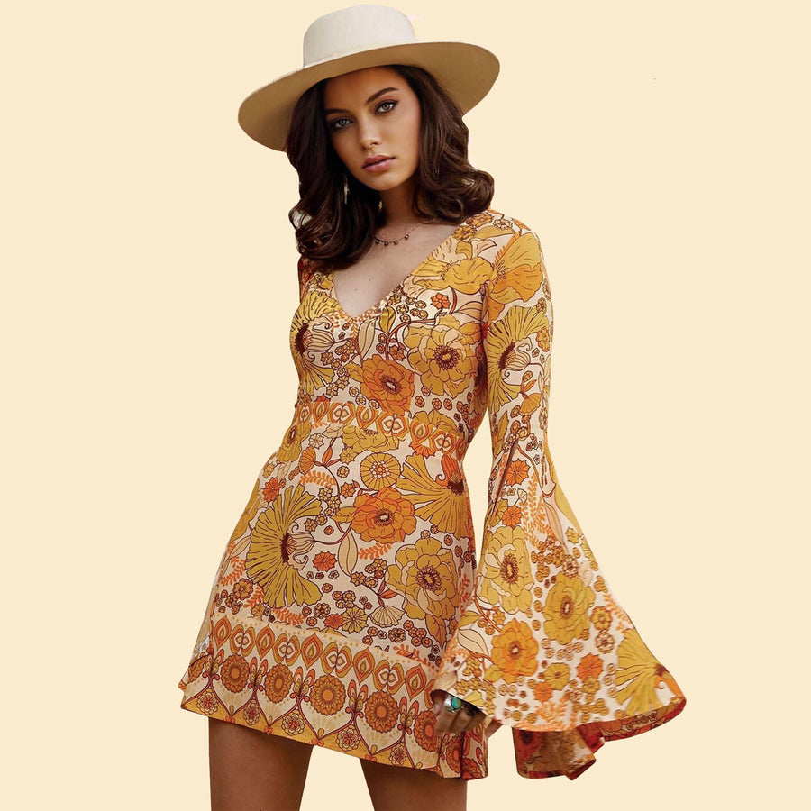 Yellow Floral Flare Sleeve Jupiter Dress