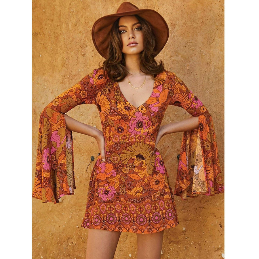 Orange Floral Flare Sleeve Jupiter Dress