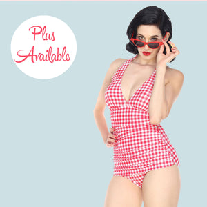 Bettie Page Vintage Style Red Gingham Low Cut One Piece Swimsuit