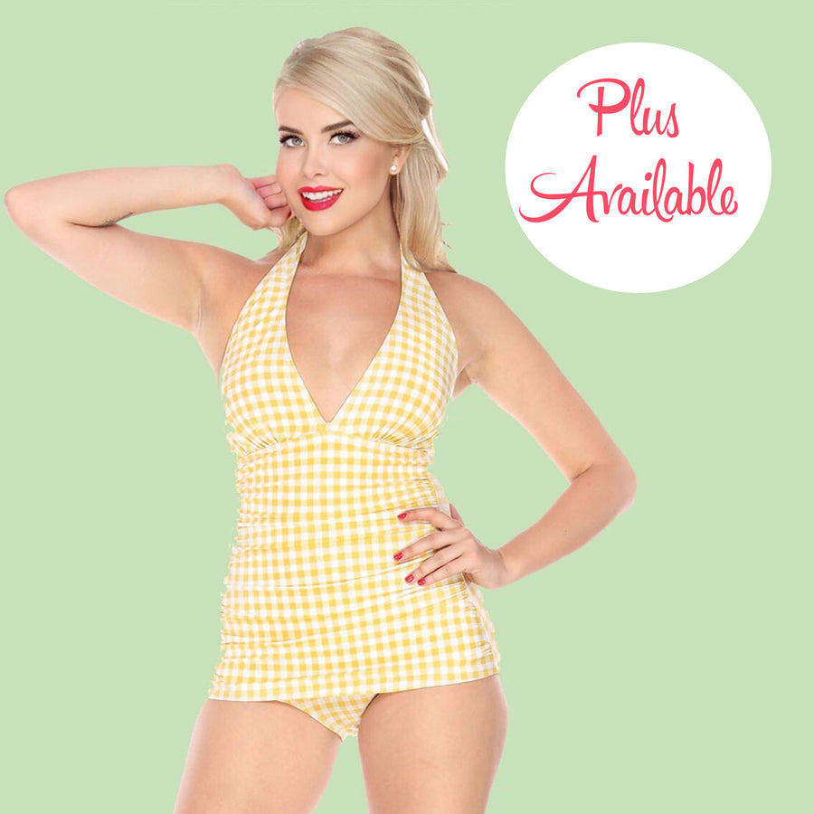 Bettie Page Vintage Style Yellow and White Gingham Print Low Cut One Piece Swimsuit