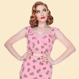 Bettie Page Pink Crop Tank Top in Tiki Pineapple Print