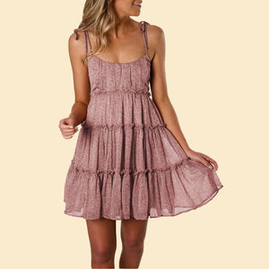 Cute Pink A-line Layered Ruffled Summer Floral Dress