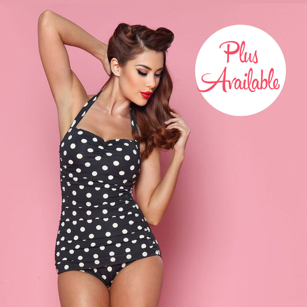 Esther Williams Polka Dot Ruched Halter One Piece Black