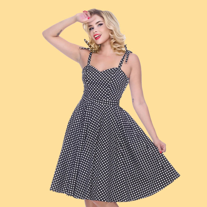 Bettie Page Albuquerque Dress in Black Dots