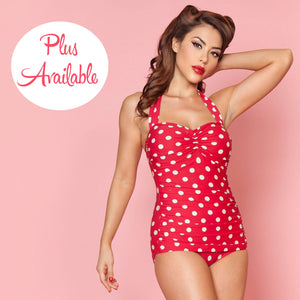 Esther Williams Polka Dot Ruched Halter One Piece Red