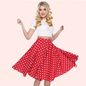 Bettie Page Red Swing Skirt with White Polka Dots