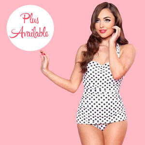 Esther Williams Polka Dot Ruched Halter One Piece White
