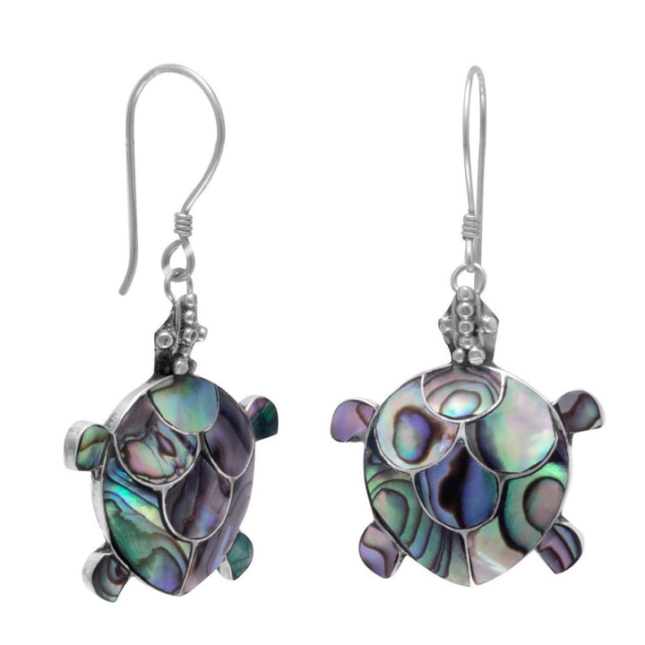 Paua Shell Turtle French Wire Earrings in Sterling Silver