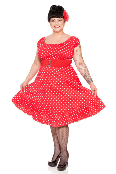 Kinny & Howie 1940's Peasant Cut Polka Dot Dress in Canary