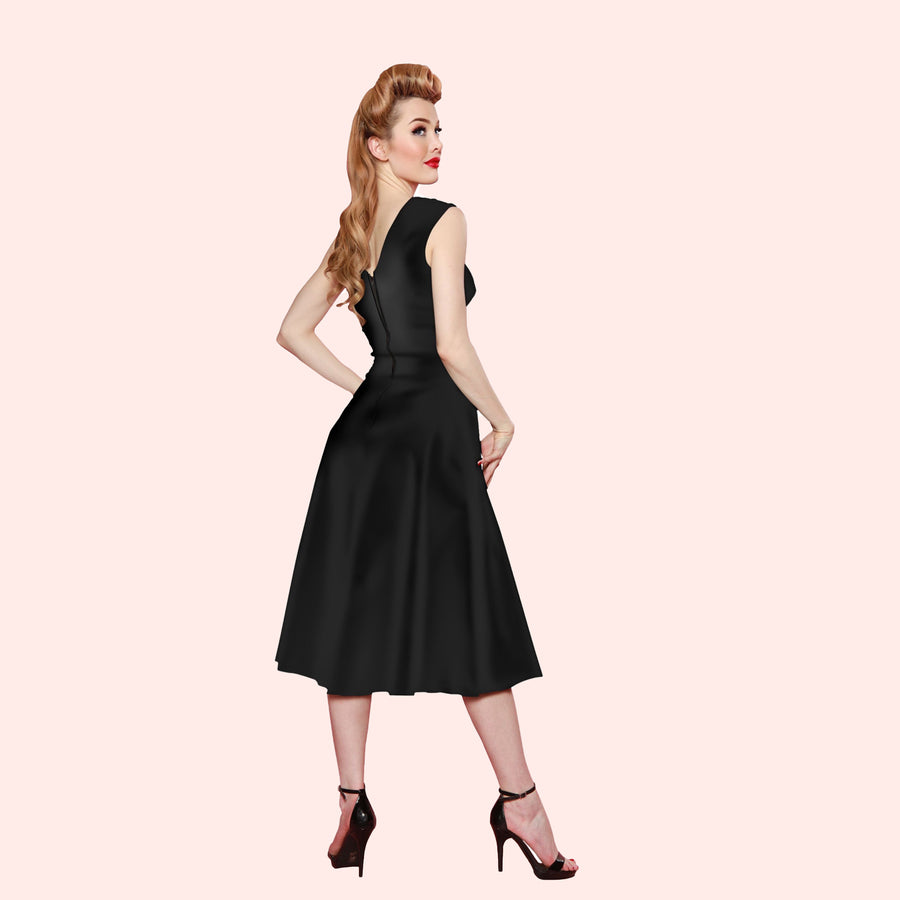 Bettie Page Roman Holiday Dress in Black